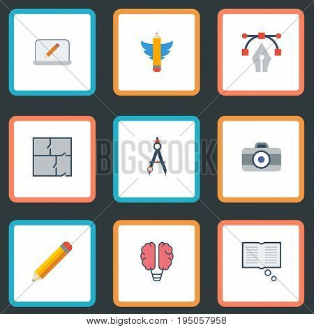 Flat Icons Photo, Science, Wings And Other Vector Elements. Set Of Creative Flat Icons Symbols Also Includes Draw, Dslr, Monitor Objects.