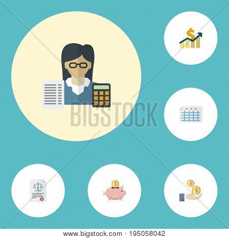 Flat Icons Bookkeeper, Act, Profit And Other Vector Elements. Set Of Registration Flat Icons Symbols Also Includes Income, Moneybox, Accountant Objects.