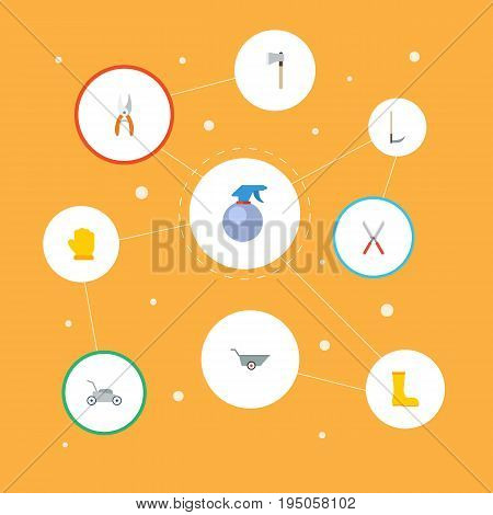 Flat Icons Latex, Axe, Rubber Boots And Other Vector Elements. Set Of Gardening Flat Icons Symbols Also Includes Wheelbarrow, Pruner, Gloves Objects.