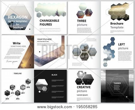 The minimalistic vector illustration of the editable layout of square design bi fold covers design templates for brochure, flyer, magazine, booklet. Abstract polygonal modern style with hexagons.
