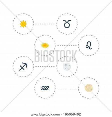 Flat Icons Bull, Archer, Lunar And Other Vector Elements. Set Of  Flat Icons Symbols Also Includes Sagittarius, Sunshine, Lion Objects.