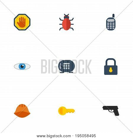 Flat Icons Clue, Safe, Vision And Other Vector Elements. Set Of Safety Flat Icons Symbols Also Includes Shot, Forbidden, Look Objects.