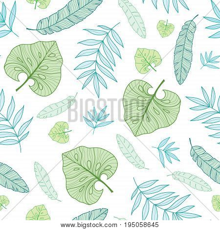 Vector pastel tropical drawing summer hawaiian seamless pattern with tropical green plants and leaves on navy blue background. Great for vacation themed fabric, wallpaper, packaging. Surface pattern design.