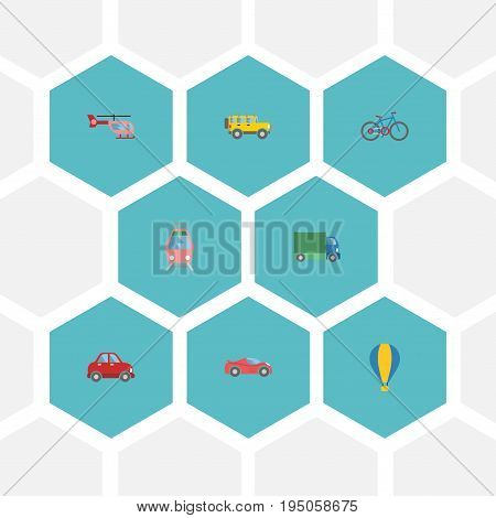 Flat Icons Car, Luxury Auto, Streetcar And Other Vector Elements. Set Of Vehicle Flat Icons Symbols Also Includes Tramcar, Truck, Streetcar Objects.