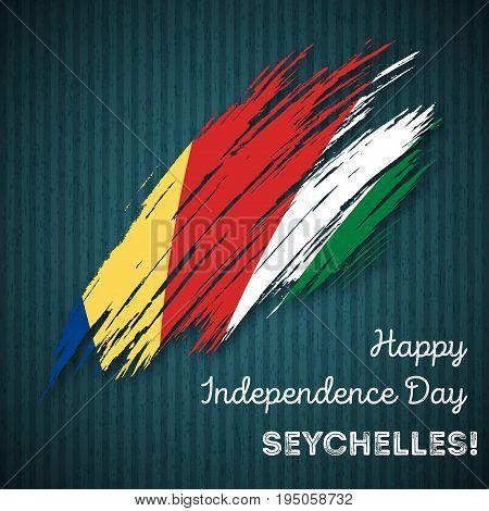 Seychelles Independence Day Patriotic Design. Expressive Brush Stroke In National Flag Colors On Dar