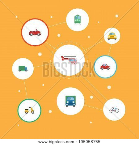 Flat Icons Lorry, Cab, Chopper And Other Vector Elements. Set Of Vehicle Flat Icons Symbols Also Includes Truck, Cycle, Freight Objects.
