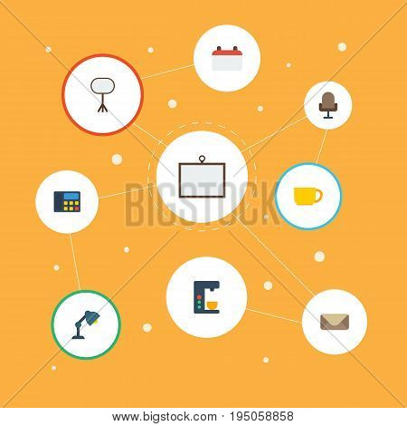 Flat Icons Board Stand, Whiteboard, Letter Vector Elements. Set Of Office Flat Icons Symbols Also Includes Chair, Date, Armchair Objects.