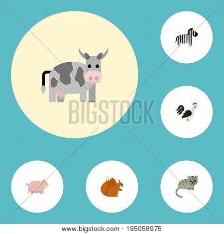 Flat Icons Chipmunk, Swine, Kine And Other Vector Elements. Set Of Animal Flat Icons Symbols Also Includes Pig, Cat, Rooster Objects.