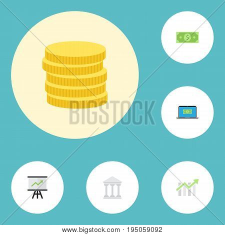 Flat Icons Bar Diagram, Money, Computer And Other Vector Elements. Set Of Banking Flat Icons Symbols Also Includes Change, Growing, Chart Objects.