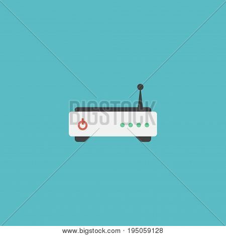Flat Icon Modem Element. Vector Illustration Of Flat Icon Router Isolated On Clean Background. Can Be Used As Router, Modem And Wifi Symbols.