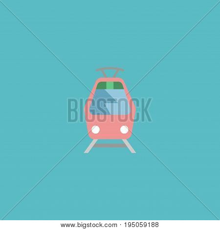 Flat Icon Tram Element. Vector Illustration Of Flat Icon Streetcar Isolated On Clean Background. Can Be Used As Tram, Streetcar And Tramcar Symbols.