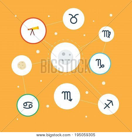 Flat Icons Archer, Crab, Virgin And Other Vector Elements. Set Of Astrology Flat Icons Symbols Also Includes Cancer, Asteroid, Meteor Objects.