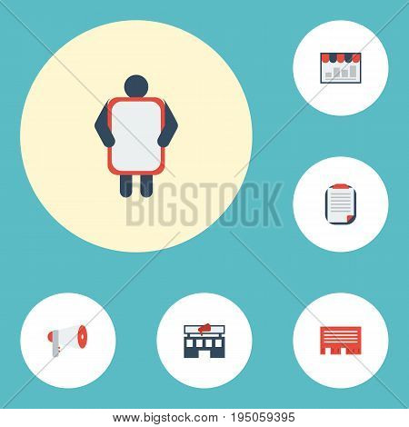 Flat Icons Megaphone, Customer Summary, Man With Banner And Other Vector Elements. Set Of Advertising Flat Icons Symbols Also Includes Brief, Letter, Mail Objects.
