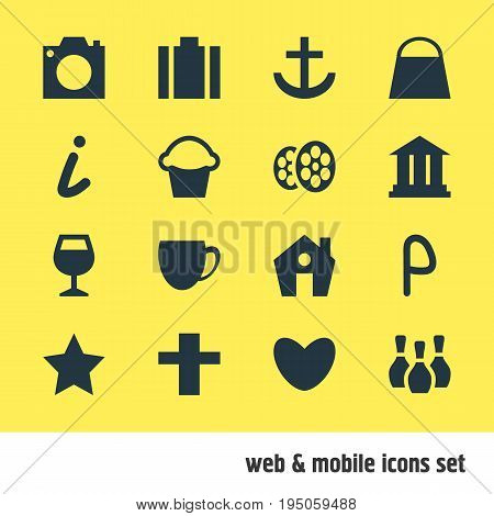 Vector Illustration Of 16 Check-In Icons. Editable Pack Of Anchor, Briefcase, Map Information And Other Elements.