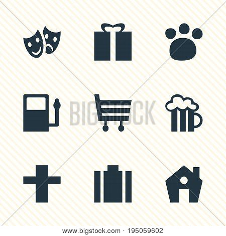 Vector Illustration Of 9 Map Icons. Editable Pack Of Refueling, Beer Mug, Shopping Cart And Other Elements.