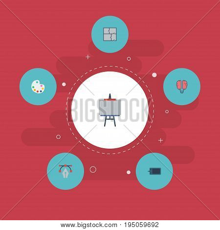Flat Icons Gadget, Writing, Stand Vector Elements. Set Of Creative Flat Icons Symbols Also Includes Property, Bezier, Color Objects.