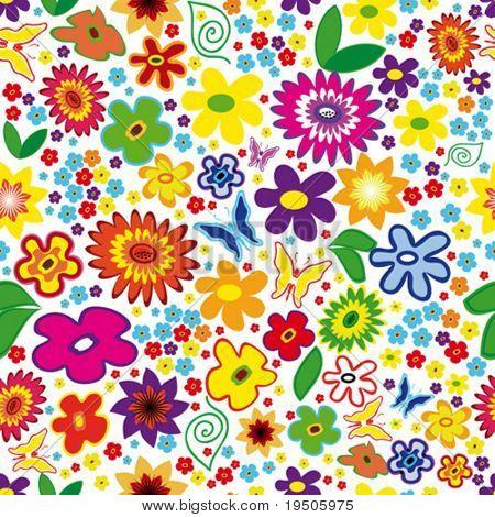Vektor Seamless Floral Background mit Blumen und Schmetterlingen (siehe Raster Version auch In My Portf