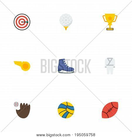 Flat Icons Trophy, Glove, Volleyball And Other Vector Elements. Set Of Sport Flat Icons Symbols Also Includes Arrow, Blower, Football Objects.