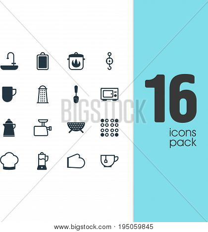 Vector Illustration Of 16 Kitchenware Icons. Editable Pack Of Mincer, Steelyard, Oven And Other Elements.