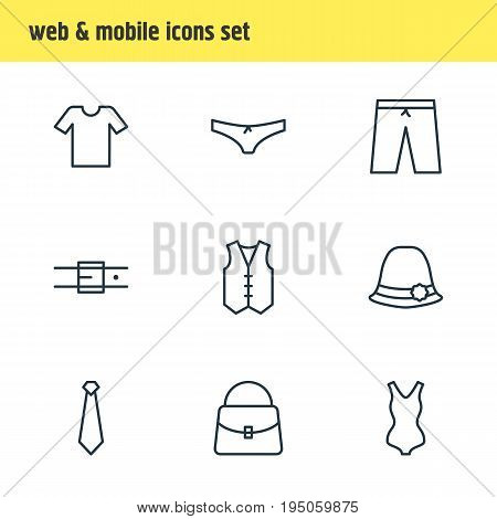 Vector Illustration Of 9 Clothes Icons. Editable Pack Of Swimwear, Casual, Strap And Other Elements.