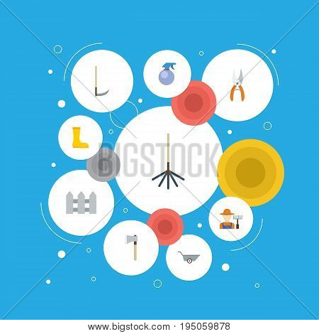 Flat Icons Fence, Cutter, Rubber Boots And Other Vector Elements. Set Of Horticulture Flat Icons Symbols Also Includes Secateurs, Gumboots, Bottle Objects.