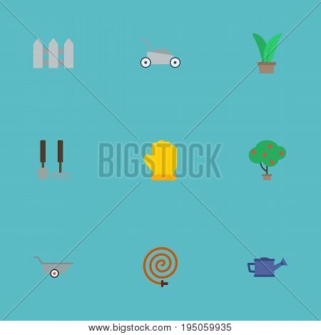 Flat Icons Garden Hose, Watering Can, Latex And Other Vector Elements. Set Of Horticulture Flat Icons Symbols Also Includes Hedge, Latex, Herb Objects.