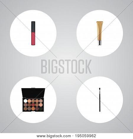 Realistic Liquid Lipstick, Multicolored Palette, Collagen Tube And Other Vector Elements. Set Of Cosmetics Realistic Symbols Also Includes Liquid, Lipstick, Multicolored Objects.