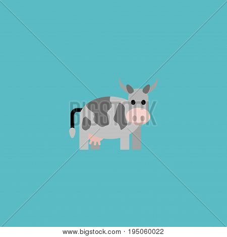 Flat Icon Cow Element. Vector Illustration Of Flat Icon Kine Isolated On Clean Background. Can Be Used As Kine, Cow And Animal Symbols.