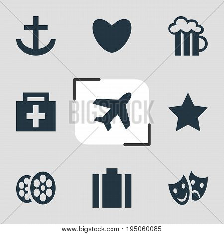Vector Illustration Of 9 Check-In Icons. Editable Pack Of Masks, Anchor, Drugstore And Other Elements.