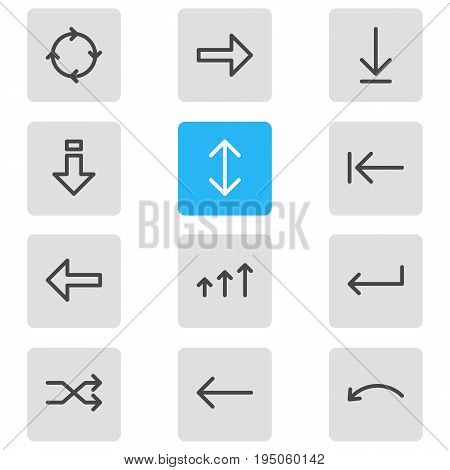 Vector Illustration Of 12 Sign Icons. Editable Pack Of Turn, Increase, Down And Other Elements.
