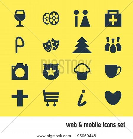Vector Illustration Of 16 Check-In Icons. Editable Pack Of Wineglass, Shopping Cart, Car Park And Other Elements.