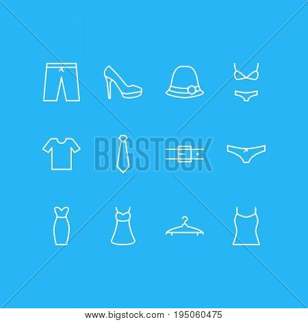 Vector Illustration Of 12 Clothes Icons. Editable Pack Of Sarafan, Singlet, Swimming Trunks And Other Elements.