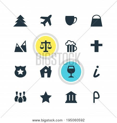 Vector Illustration Of 16 Map Icons. Editable Pack Of Handbag, Cross, Skittles Elements.