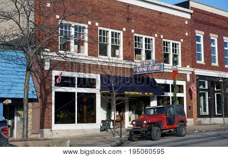 PETOSKEY, MICHIGAN / UNITED STATES - NOVEMBER 22, 2016: One may purchase furniture at Reid's Furniture Store, on Mitchell Street in downtown Petoskey.