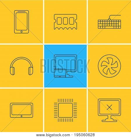 Vector Illustration Of 9 Computer Icons. Editable Pack Of Headsets, Qwerty Board, Tablet With PC And Other Elements.