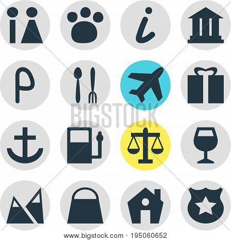 Vector Illustration Of 16 Travel Icons. Editable Pack Of Wineglass, Pet Shop, Map Information And Other Elements.