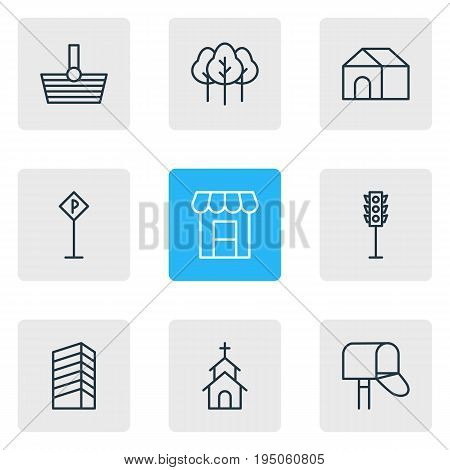 Vector Illustration Of 9 Infrastructure Icons. Editable Pack Of Semaphore, Awning, Forest And Other Elements.