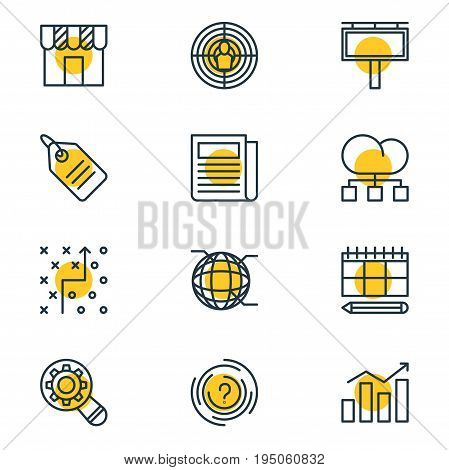 Vector Illustration Of 12 Advertising Icons. Editable Pack Of Advertising Billboard, Daily Press, Maze And Other Elements.