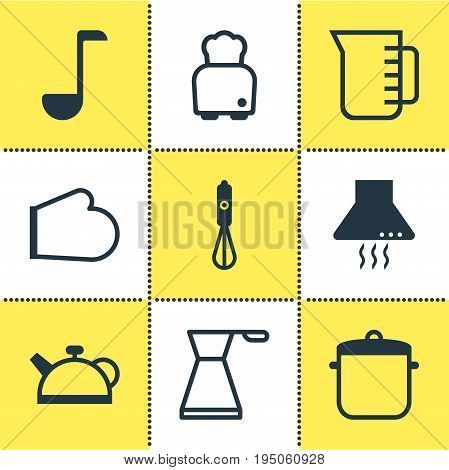 Vector Illustration Of 9 Kitchenware Icons. Editable Pack Of Oven Mitts, Extractor Appliance, Soup Pan And Other Elements.