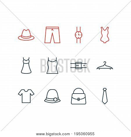 Vector Illustration Of 12 Dress Icons. Editable Pack Of Swimming Trunks, Cravat, Fedora And Other Elements.