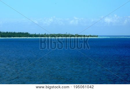 View Of Tetiaroa From The Lagoon On A Cruise Ship, French Polynesia.