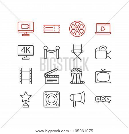 Vector Illustration Of 16 Cinema Icons. Editable Pack Of Tv, Shooting Seat, Filmstrip And Other Elements.