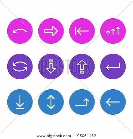 Vector Illustration Of 12 Arrows Icons. Editable Pack Of Left, Right, Down And Other Elements.