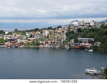 View to San Pedro La Laguna town on Atitlan lake, Guatemala, Central America