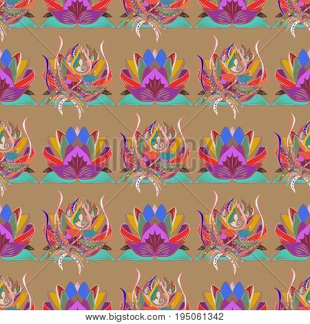 Pretty floral print with pink small flowers. Motley seamless pattern. Vector abstract flower background.