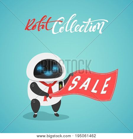 Character of the modern robot android in the flat style. Sale new technology.