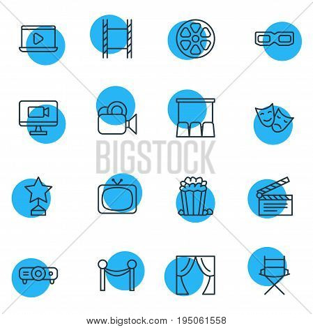 Vector Illustration Of 16 Film Icons. Editable Pack Of Reward, Tragedy, Cinema Fence And Other Elements.