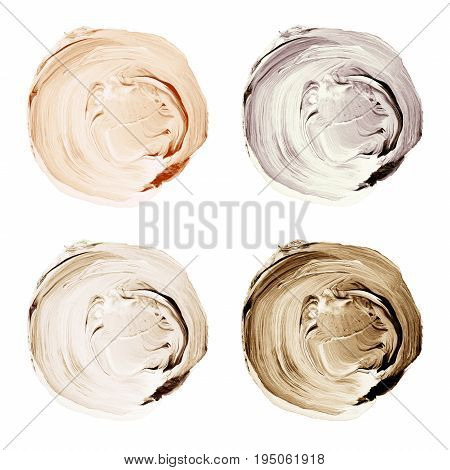 Acrylic Textured Circles In Shades Of Beige And Brown Colors Isolated On White Background.