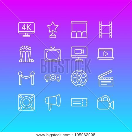 Vector Illustration Of 16 Cinema Icons. Editable Pack Of Resolution, Slideshow, Snack And Other Elements.