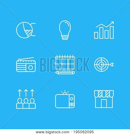 Vector Illustration Of 9 Marketing Icons. Editable Pack Of Circle Diagram, Schedule, Advancement And Other Elements.